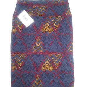 Nwt women's LulaRoe red blue pencil skirt sz XS